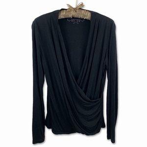 DANIER   Long Sleeve Low Neck Black Shirt
